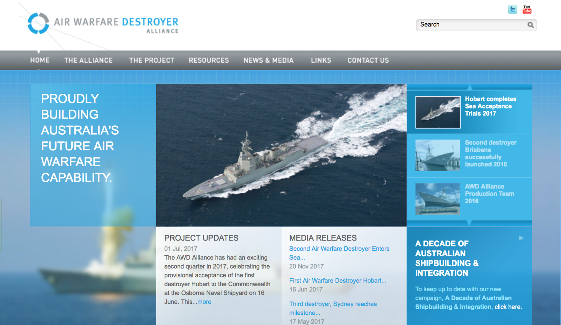 Air Warfare Destroyer Alliance website hits the target