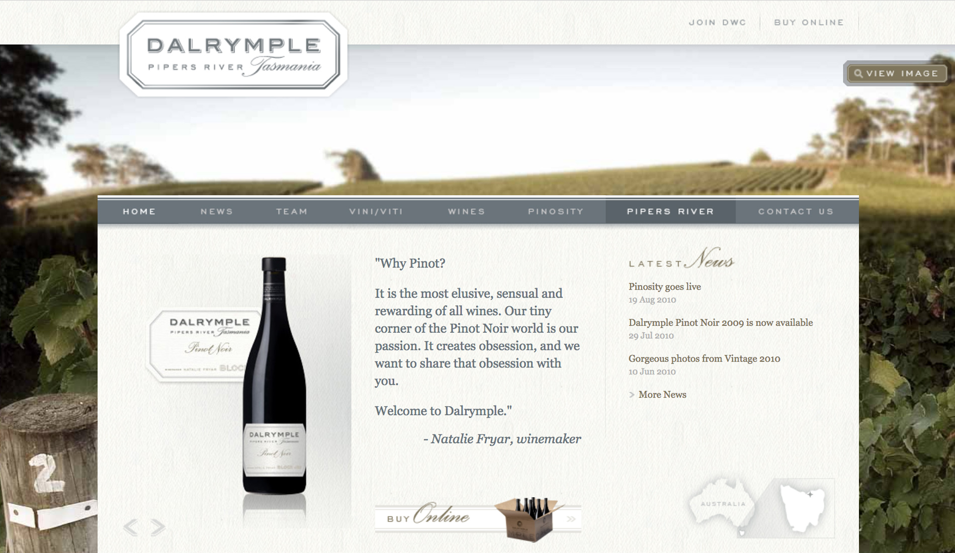 Dalrymple deliver beautiful wine through an elegant website