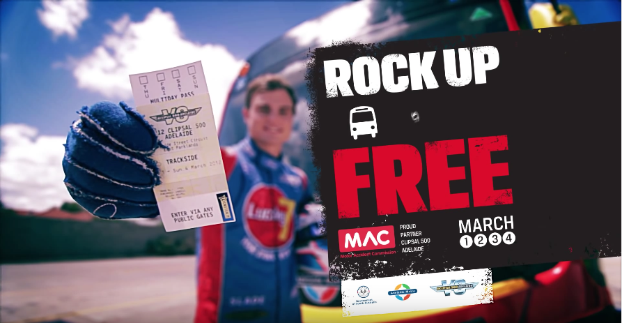 Rock up to the race for free: Television Commercial